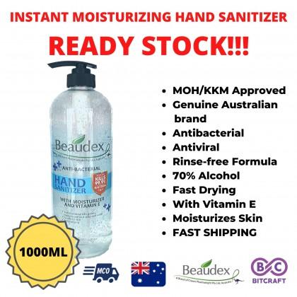 [READY STOCK] BEAUDEX Instant Hand Sanitizer Gel with Moisturizer Vitamin E 1000mL / 500mL / 50mL GENUINE AUSTRALIAN BRAND Antiviral Antibacteria