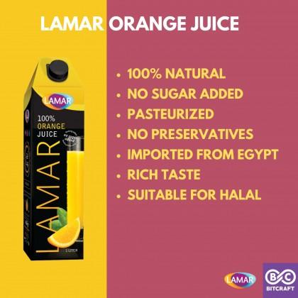 LAMAR 100% Orange Juice 1L No Sugar Imported From Egypt No Preservatives Jus Buah Oren