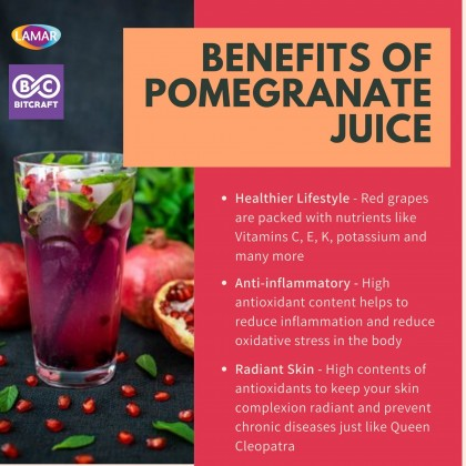 LAMAR 100% Pomegranate Juice 1L No Sugar Imported From Egypt No Preservatives Jus Buah Delima