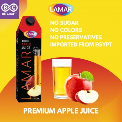 LAMAR 100% Apple Juice 1L No Sugar Imported From Egypt No Preservatives Jus Epal Tulen Tanpa Gula Tanpa Pengawet
