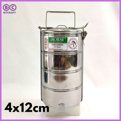 HORSE Stainless Steel Tiffin Food Carrier Lunch Box 4 Tier Multi Layer Food Storage Container Tingkat Nasi Bekas Makanan Bitcraft