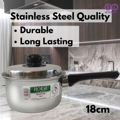 Horse Stainless Steel Sauce Pot  Saucepan 16cm 18cm 20cm 22cm Cooking Pot with Lid Cover Periuk Keluli Kecil Tahan Karat Periuk Maggie Bitcraft